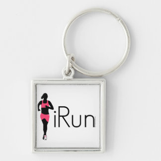iRun Silver-Colored Square Key Ring