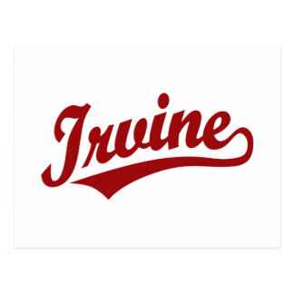 Irvine script logo in red postcard