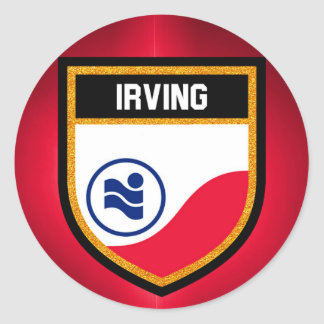 Irving  Flag Classic Round Sticker