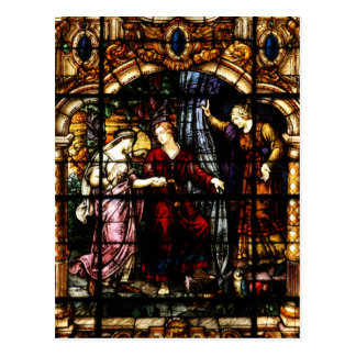 Isaac and Rebekah Stained Glass Art Postcard