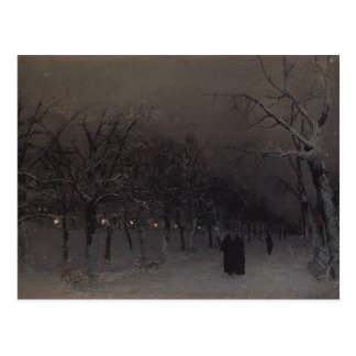 Isaac Levitan- Boulevard in the evening. Postcard