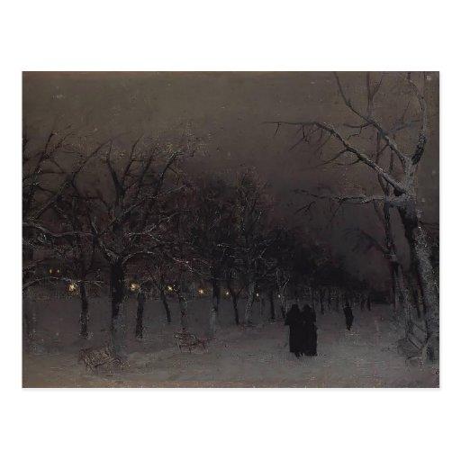 Isaac Levitan- Boulevard in the evening. Post Card