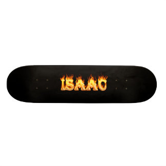 Isaac skateboard fire and flames design.