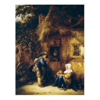 Isaac van Ostade- Traveller at a Cottage Door Postcard