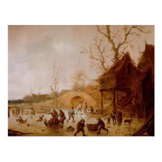 Isaac van Ostade :Winter Landscape with players Postcard