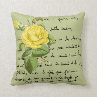 Isabella Gray Yellow Redouté Rose Cushion