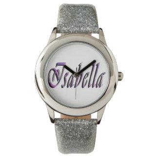 Isabella, Name, Logo, Girls Silver Glitter Watch. Watch