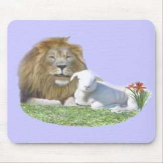 Isaiah 11:6 and the lamb shall lie down with the l mouse pad