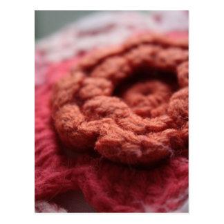 Isaiah 1:18 Crochet Red Flower Postcard
