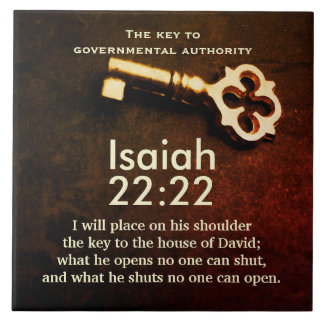 Isaiah 22:22 Key to the House of David Bible Verse Large Square Tile