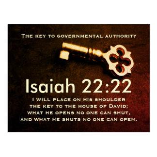 Isaiah 22:22 Key to the House of David Bible Verse Postcard