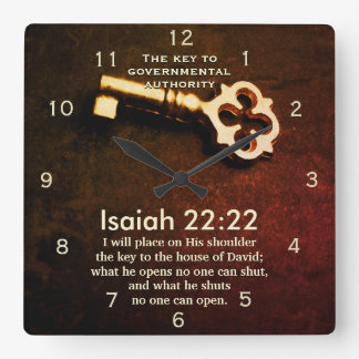Isaiah 22:22 Key to the House of David Bible Verse Square Wall Clock