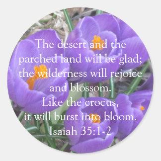 Isaiah 35:1-2 ~ The Crocus Classic Round Sticker