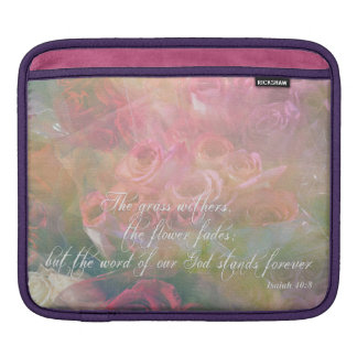 Isaiah 40:8 on an iPad sleeve