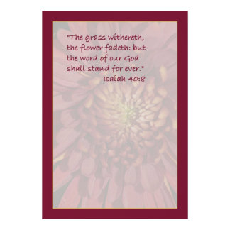 Isaiah 40:8 Scripture Print (Red Mum)