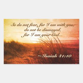 Isaiah 41:10 Bible Verse Do not fear I am with you Rectangular Sticker