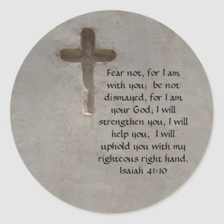 Isaiah 41:10 Inspirational Bible Verse Classic Round Sticker