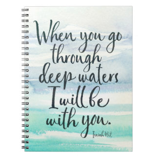 Isaiah 43:2 Deep Waters Watercolor Bible Notebook