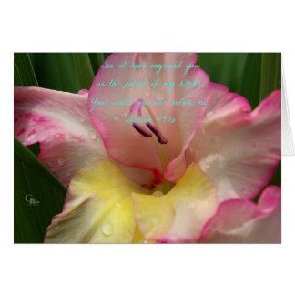 Isaiah 49:16 Pink Raindrop Gladiolus Card