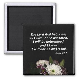 Isaiah 50:7 square magnet