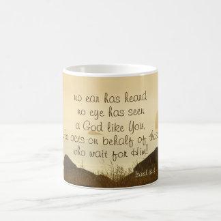 Isaiah 64:4 Bible Verse Beautiful Ocean Shorline Coffee Mug