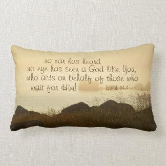 Isaiah 64:4 Bible Verse Beautiful Ocean Shorline Lumbar Cushion