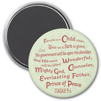 Isaiah 9:6 Bible Verse  in Christmas Colors Magnet