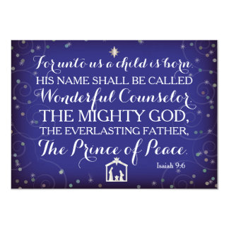 Isaiah 9:6 For Unto Us A Child Is Born 11 Cm X 16 Cm Invitation Card
