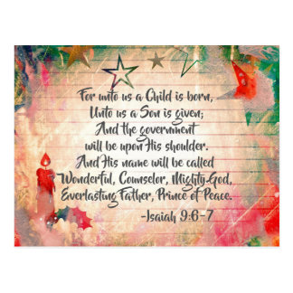 """Isaiah 9:6 """"For unto us a Child is Born"""" Christmas Postcard"""