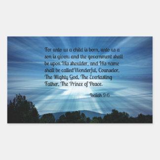 Isaiah 9:6 For unto us a child is born... Rectangular Sticker
