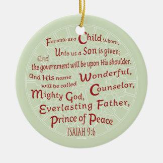 Isaiah 9:6 in Christmas Colors Ceramic Ornament