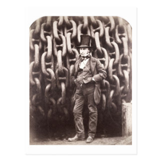 Isambard Kingdom Brunel, standing in front of the Postcard