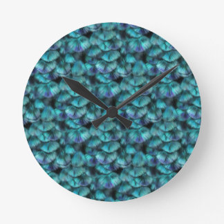 Isis blue feather pattern round clock