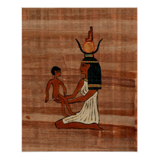 Isis with the Infant Horus Papyrus Print