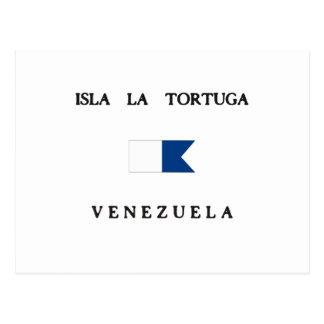 Isla La Tortuga Venezuela Alpha Dive Flag Post Card
