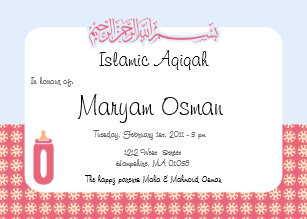 Aqiqah gifts on zazzle au islam aqiqah invitation cute baby bottle stopboris Image collections