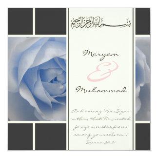 Islam blue rose wedding engagement muslim invite