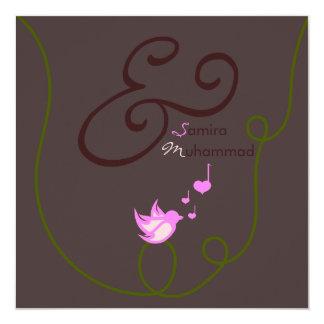 Islam Islamic wedding marriage heart love bird 13 Cm X 13 Cm Square Invitation Card