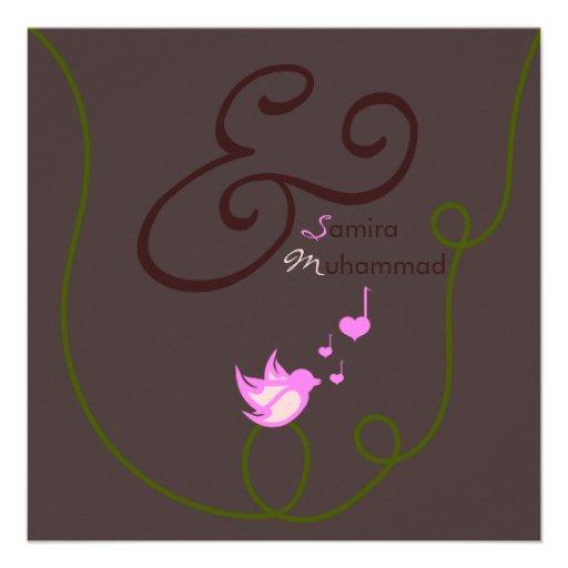 Islam Islamic wedding marriage heart love bird Invite