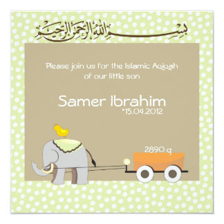 Islamic Aqiqah baby invitation announcement muslim
