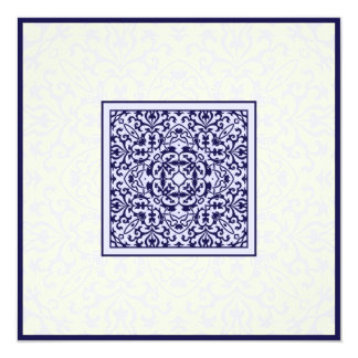 Islamic Arabic blue ornament engagement wedding 13 Cm X 13 Cm Square Invitation Card