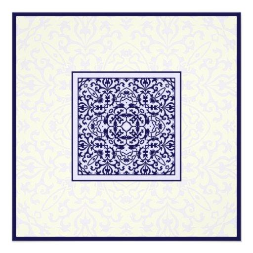 Islamic Arabic blue ornament engagement wedding Invites