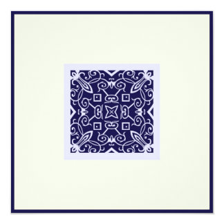 Islamic Arabic blue ornament engagement wedding Ka 13 Cm X 13 Cm Square Invitation Card