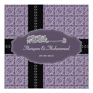 Islamic bismillah wedding engagement damask purple 13 cm x 13 cm square invitation card