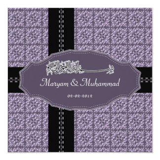 Islamic bismillah wedding engagement damask purple card