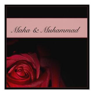 Islamic black red rose wedding / engagement 13 cm x 13 cm square invitation card