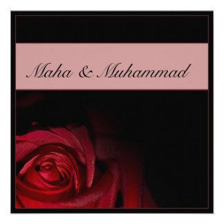 Islamic black red rose wedding / engagement personalized invite