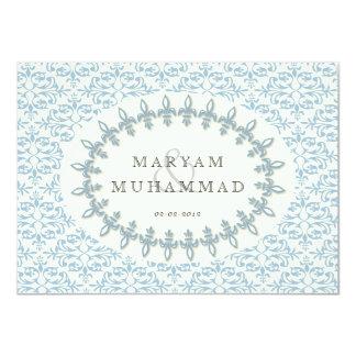 Islamic damask wedding engagement blue flower card