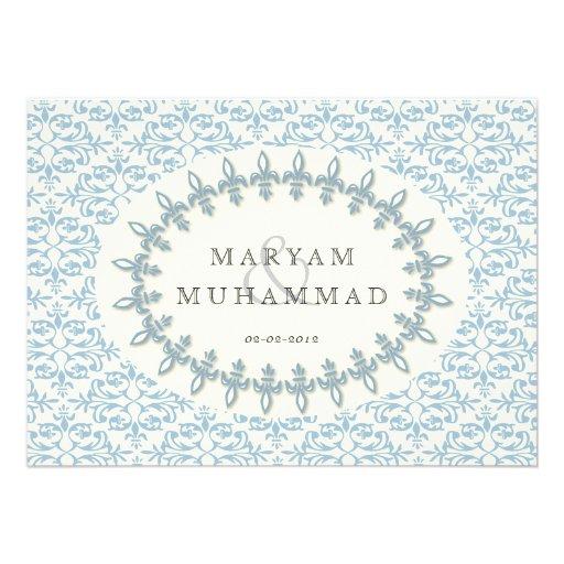 Islamic damask wedding engagement blue flower personalized invite