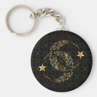 Islamic Floral Moon and Star Key Ring